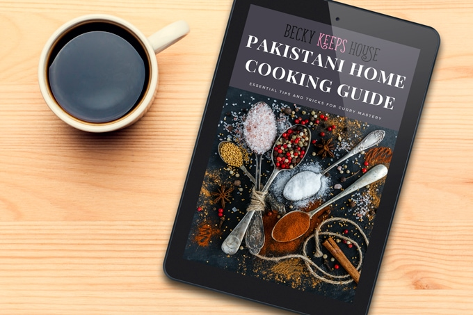 Becky Keeps House Pakistani Home Cooking Guide eBook displayed on a tablet